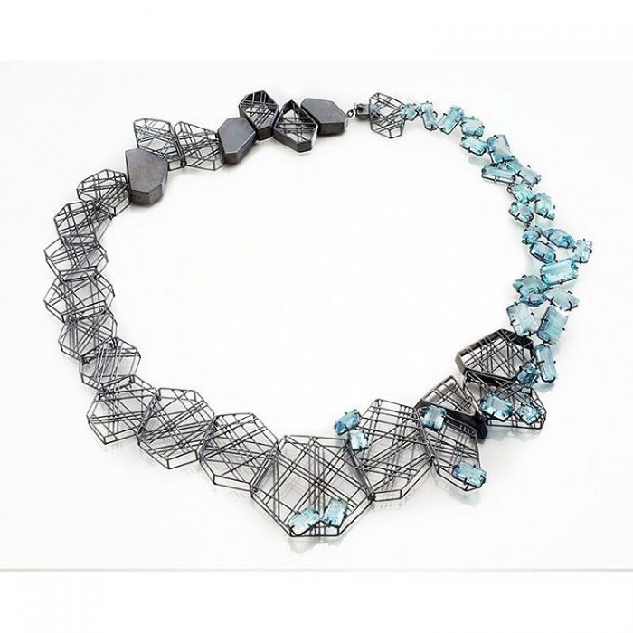 Necklace with ruthenium plated sterling silver and drilled aquamarines by Daphne Krinos